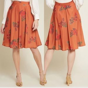 ModCloth Just This Sway A-Line Skirt Orange Floral
